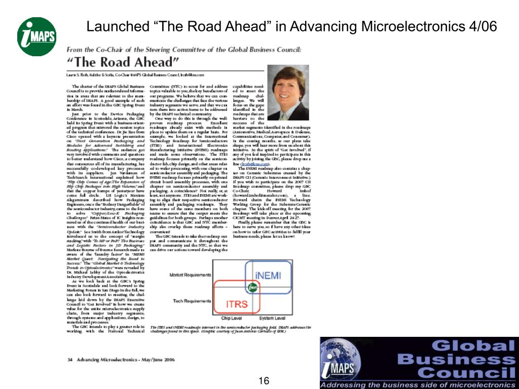"Launched ""The Road Ahead"" in Advancing Microelectronics 4/06"