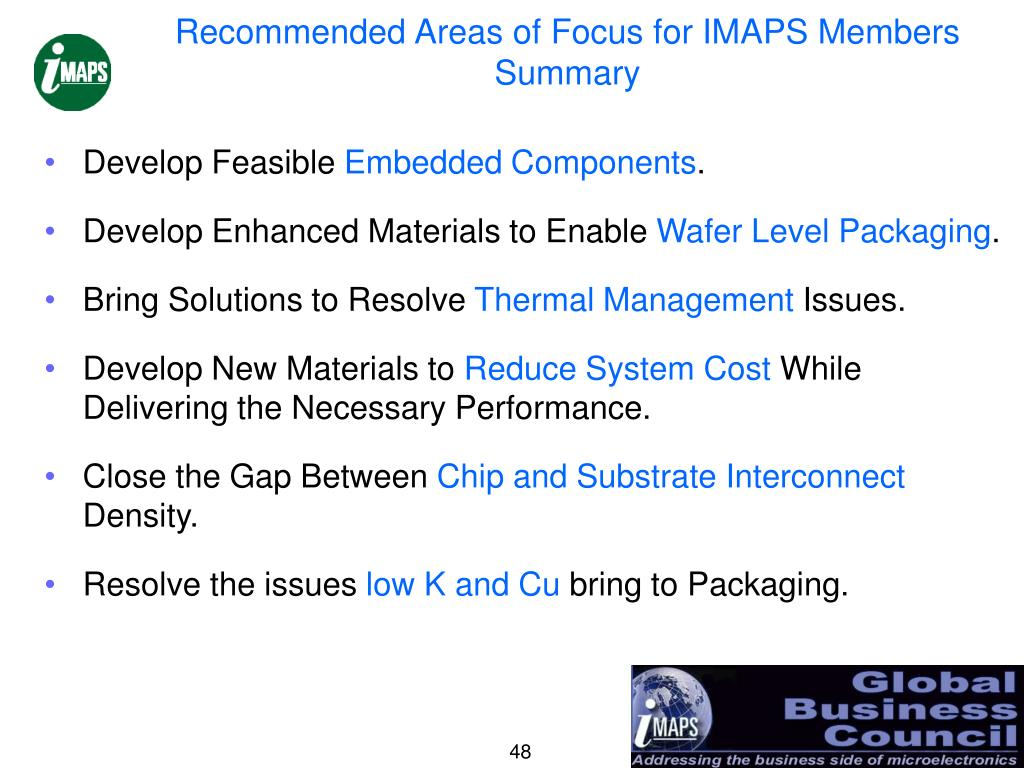 Recommended Areas of Focus for IMAPS Members
