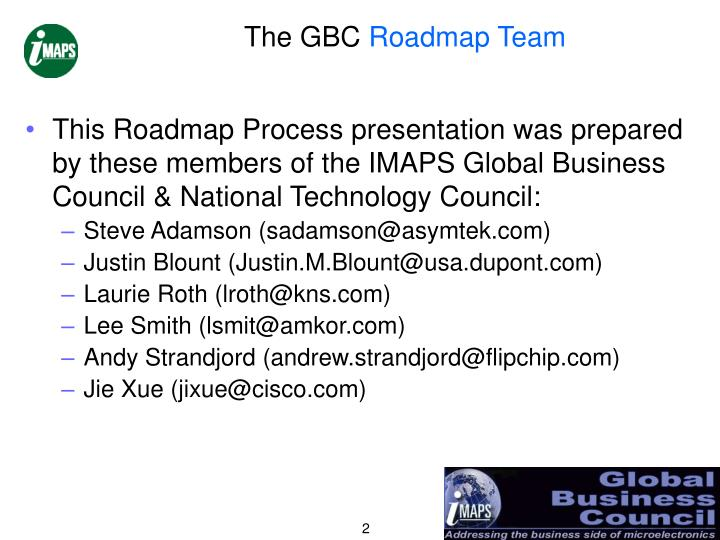 The gbc roadmap team