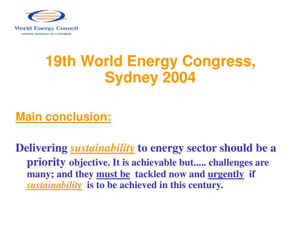 19th World Energy Congress, Sydney 2004