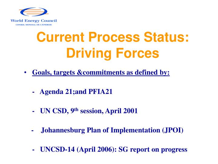 Current process status driving forces