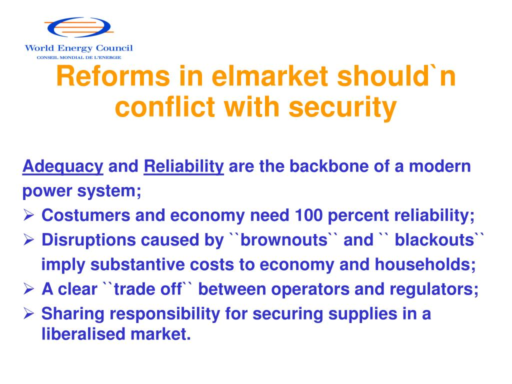 Reforms in elmarket should`n conflict with security