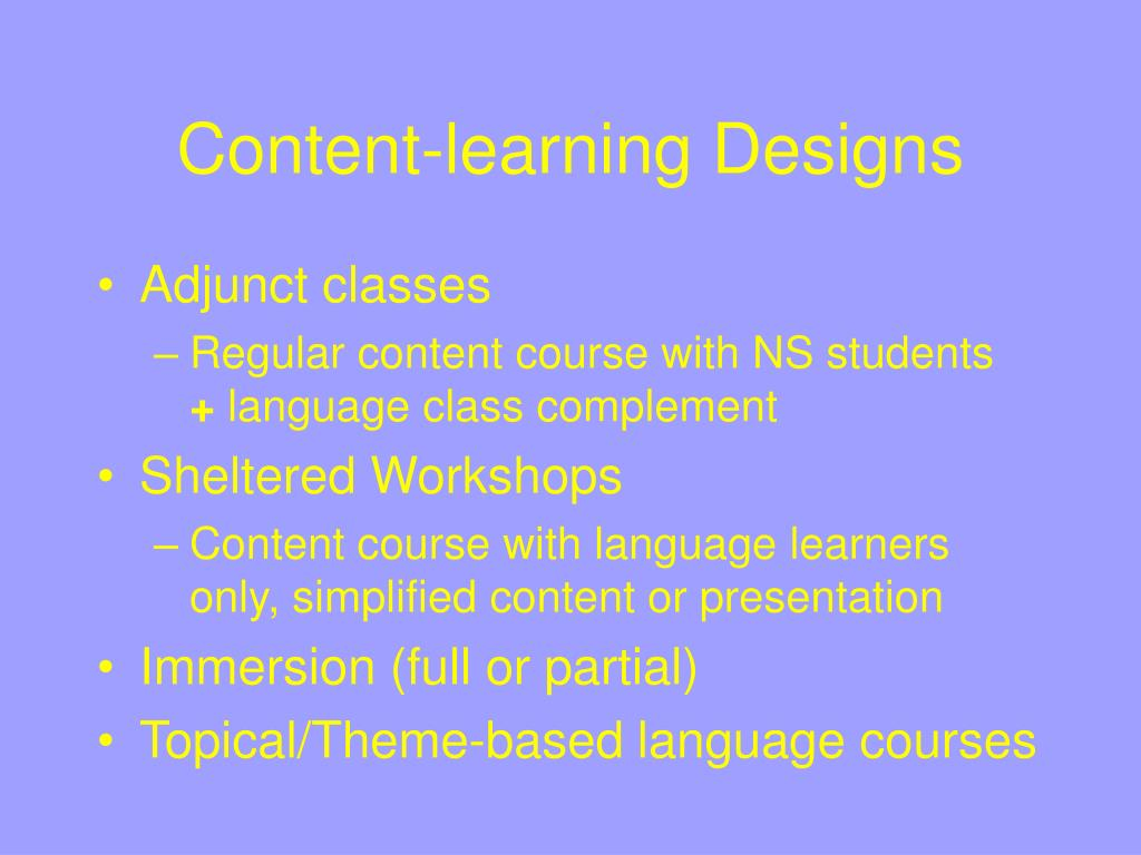 Content-learning Designs
