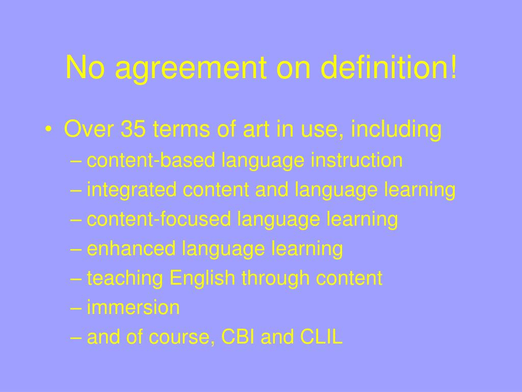 No agreement on definition!