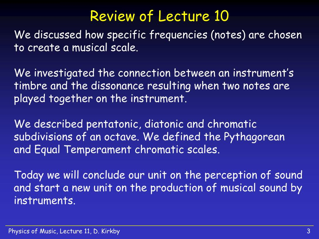 Review of Lecture 10