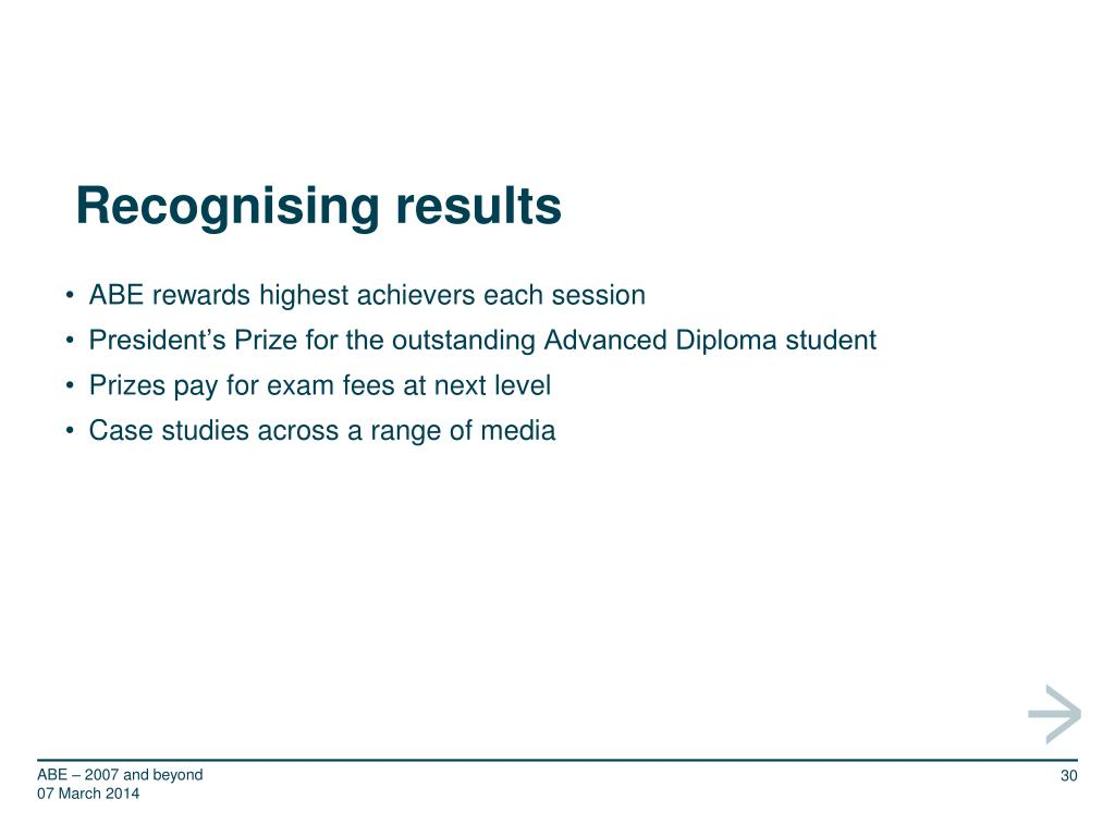 Recognising results