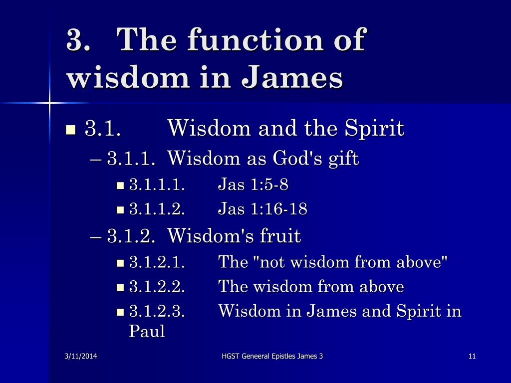 3.	The function of wisdom in James