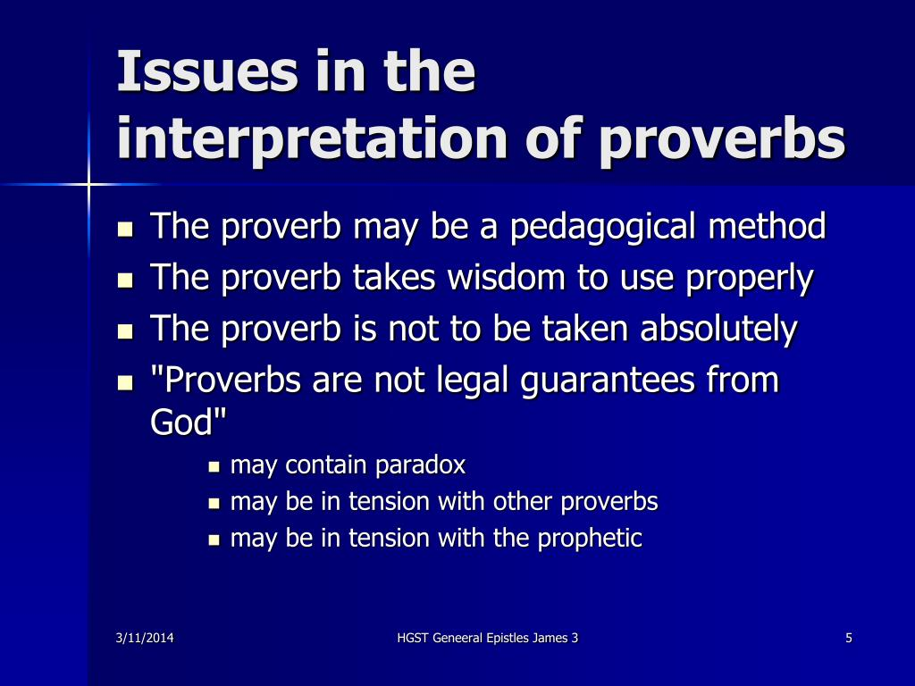 Issues in the interpretation of proverbs