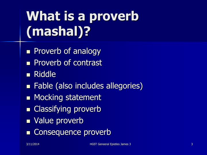 What is a proverb mashal