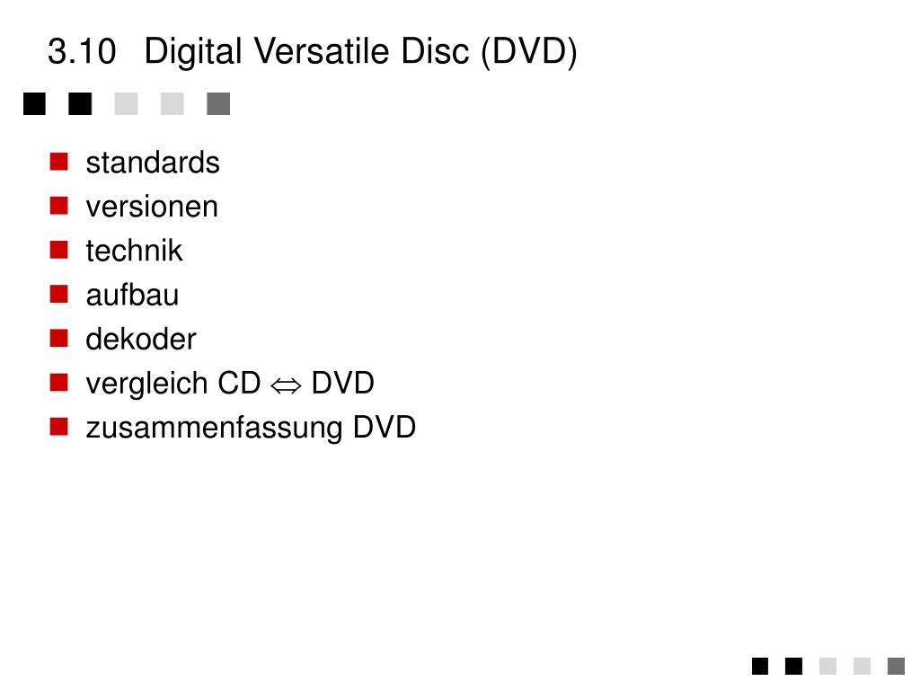 3.10	Digital Versatile Disc (DVD)