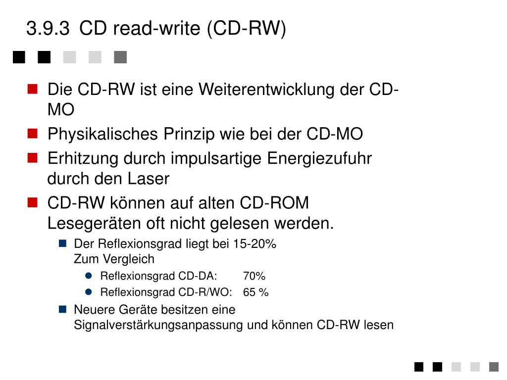3.9.3	CD read-write (CD-RW)