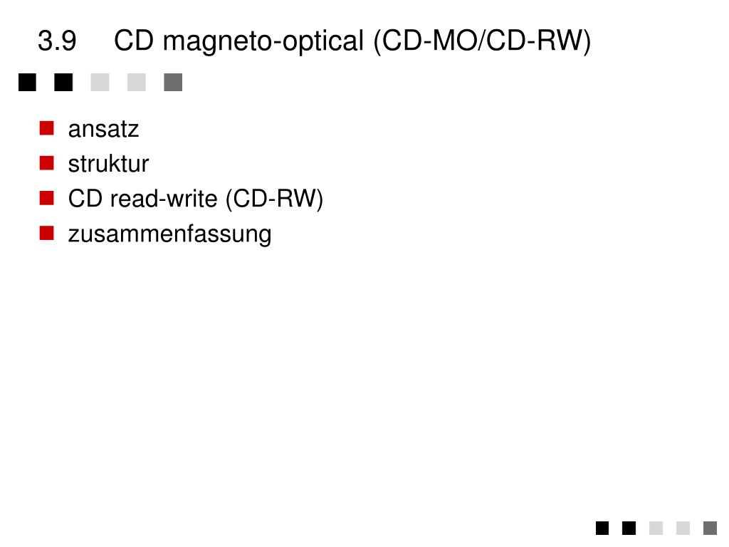 3.9	CD magneto-optical (CD-MO/CD-RW)