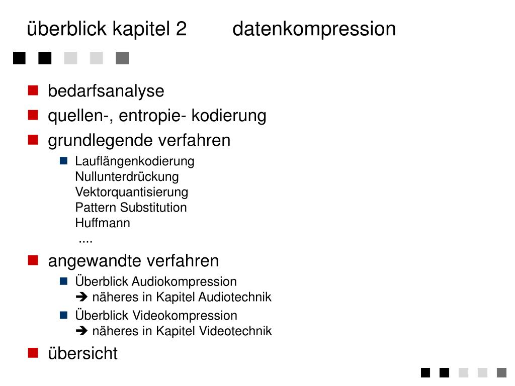 überblick kapitel 2	datenkompression