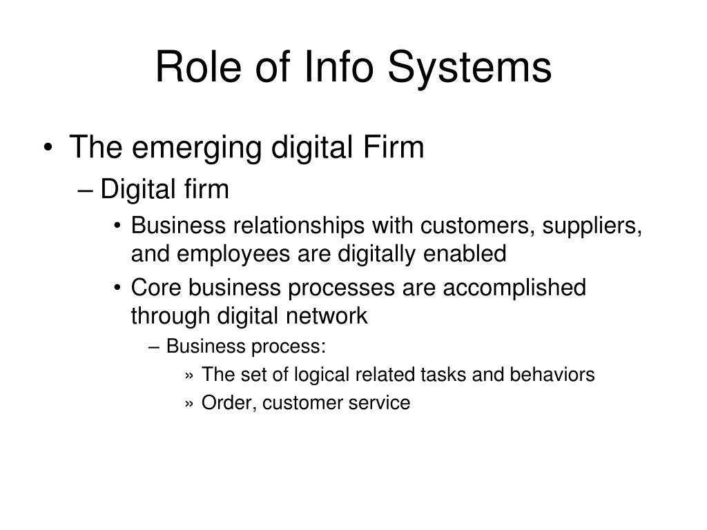 Role of Info Systems