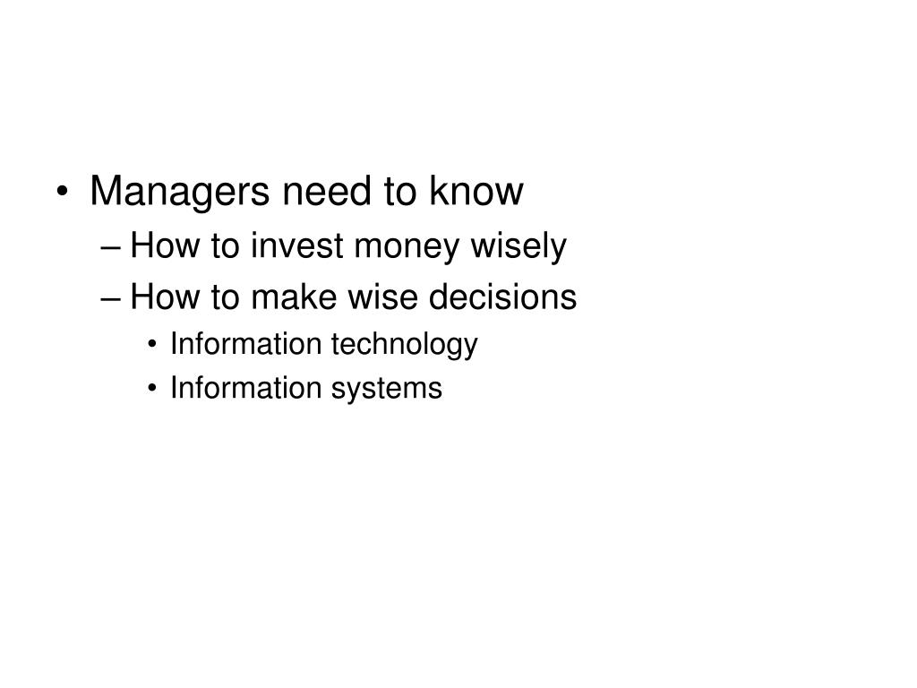 Managers need to know