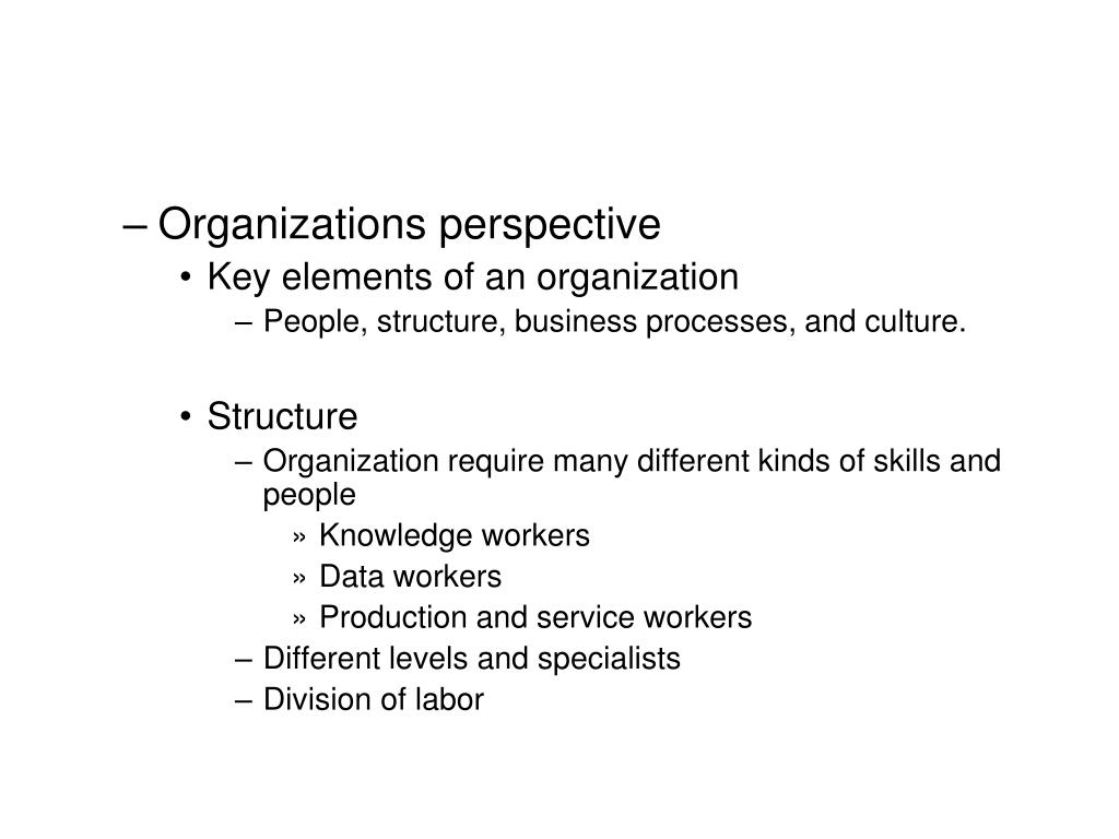 Organizations perspective