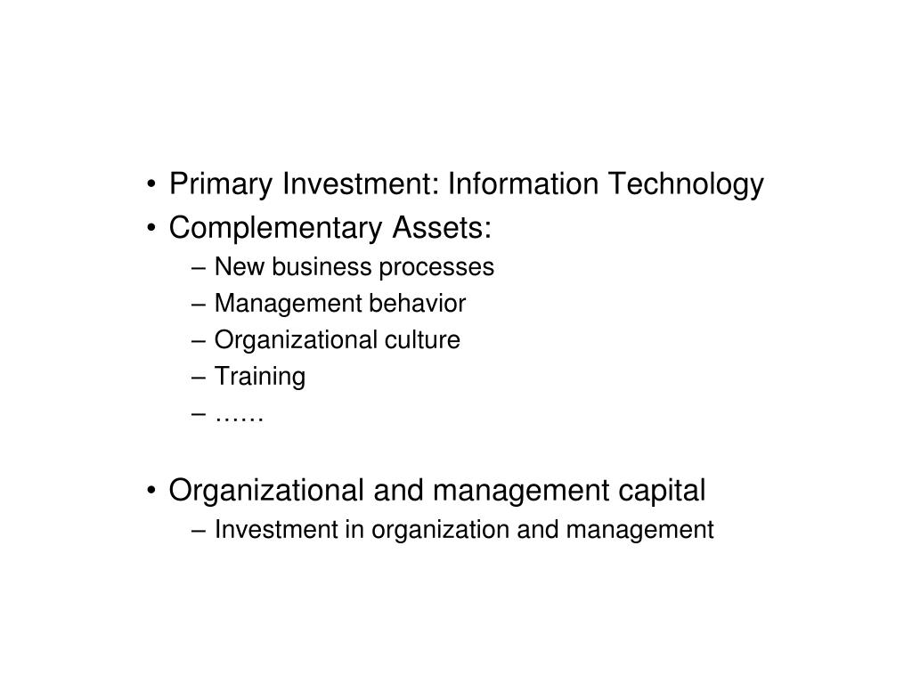 Primary Investment: Information Technology