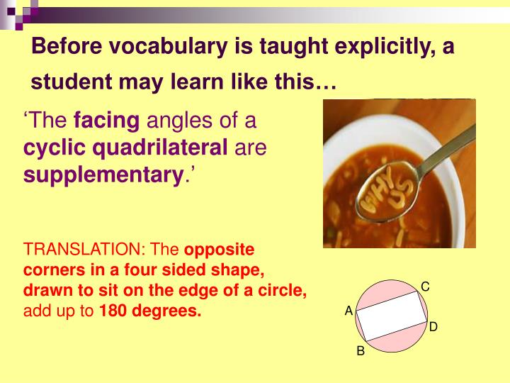 Before vocabulary is taught explicitly, a student may learn like this…