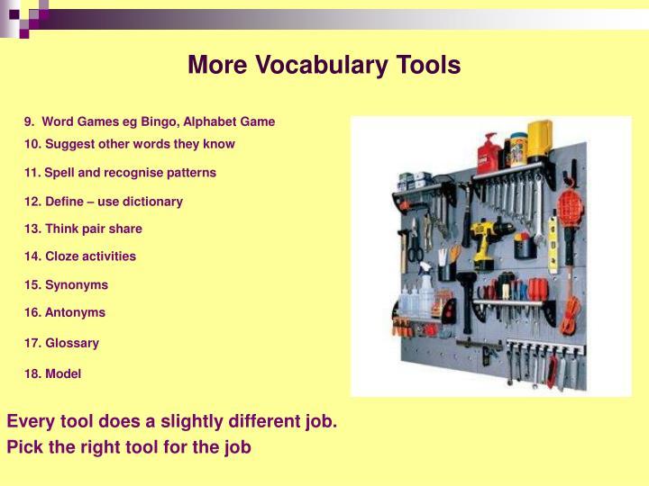 More Vocabulary Tools