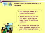 phase 1 use the new words in a sentence