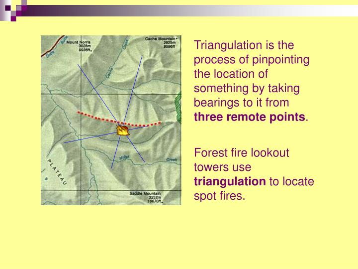Triangulation is the process of pinpointing the location of something by taking bearings to it from