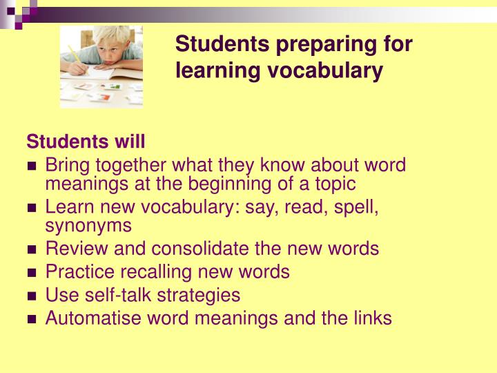 Students preparing for learning vocabulary