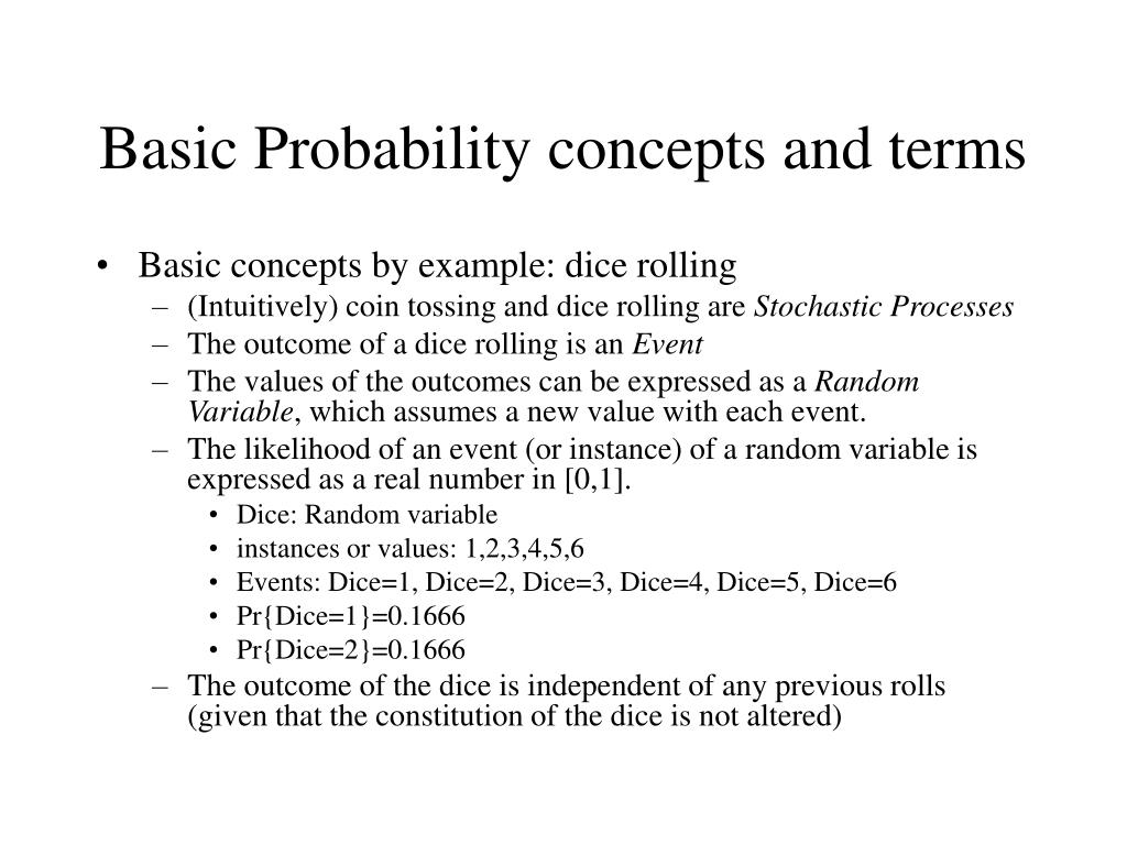Basic Probability concepts and terms