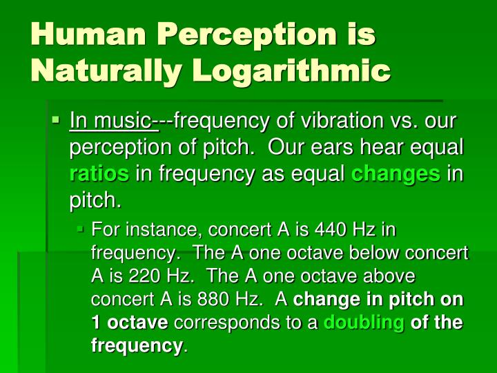 Human Perception is Naturally Logarithmic