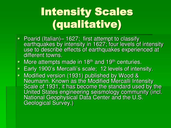 Intensity Scales (qualitative)