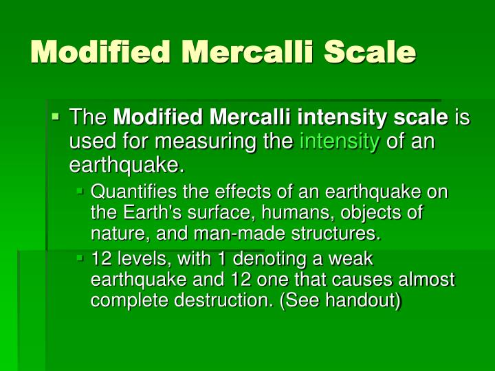 Modified Mercalli Scale