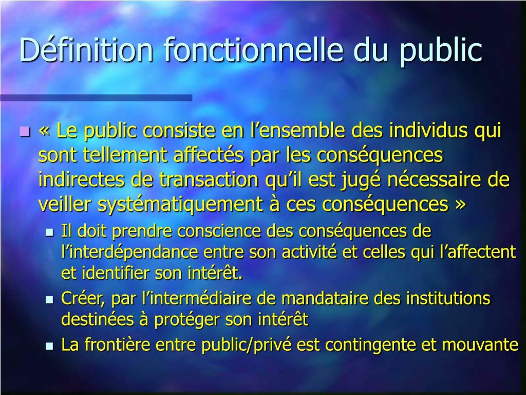 Définition fonctionnelle du public