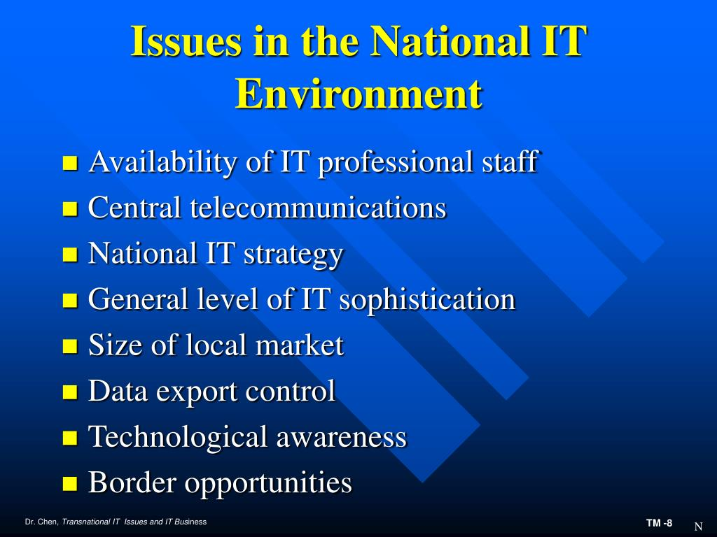 Issues in the National IT Environment