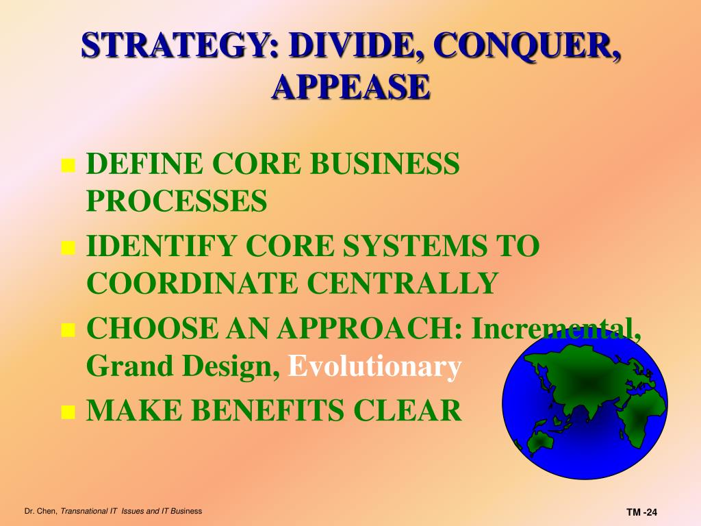 STRATEGY: DIVIDE, CONQUER, APPEASE