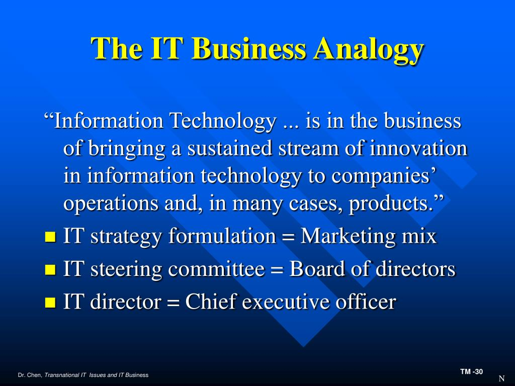 The IT Business Analogy