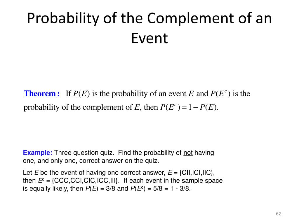 Probability of the Complement of an Event