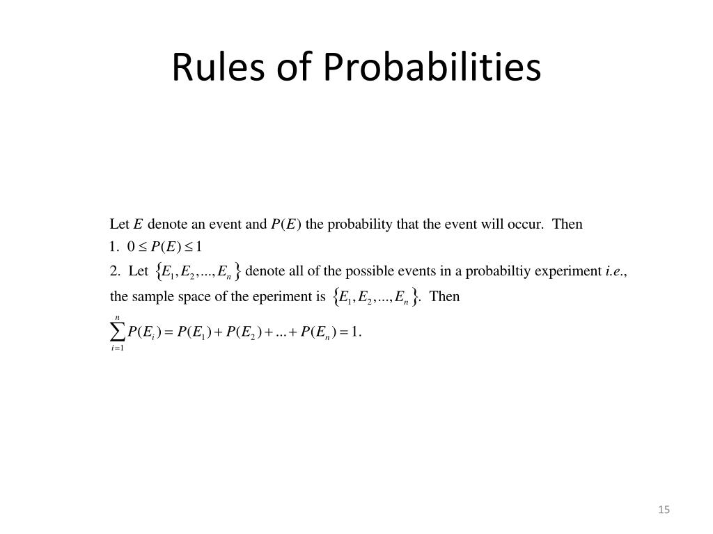 Rules of Probabilities