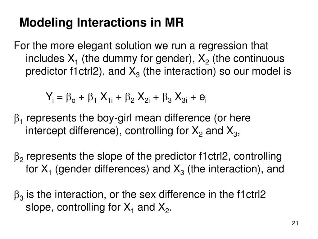 Modeling Interactions in MR