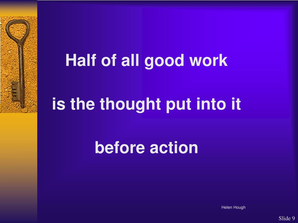 Half of all good work
