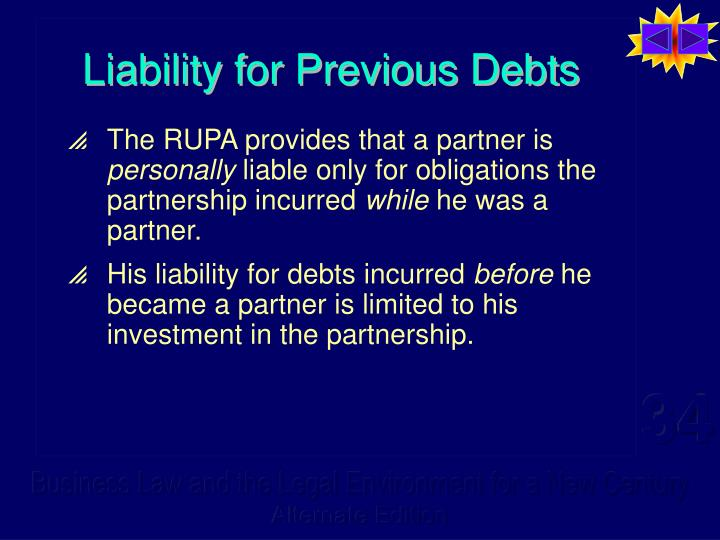Liability for Previous Debts