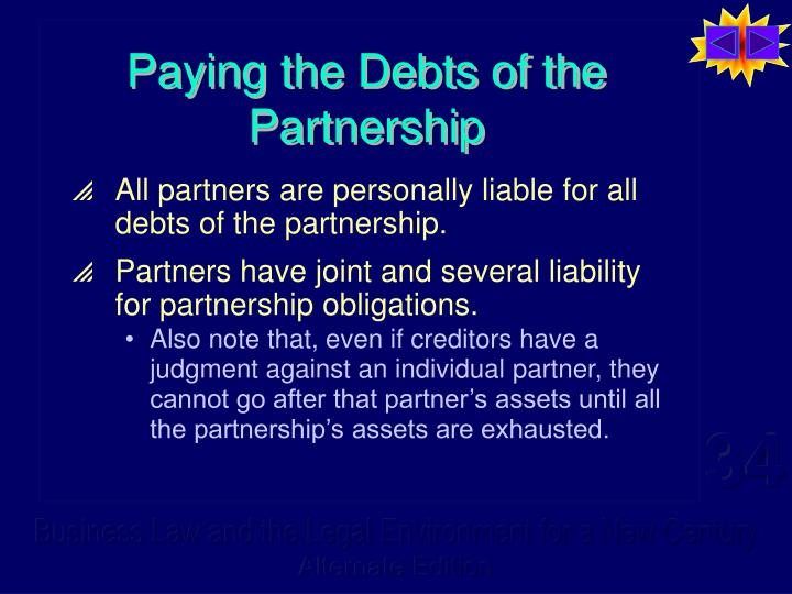Paying the Debts of the Partnership
