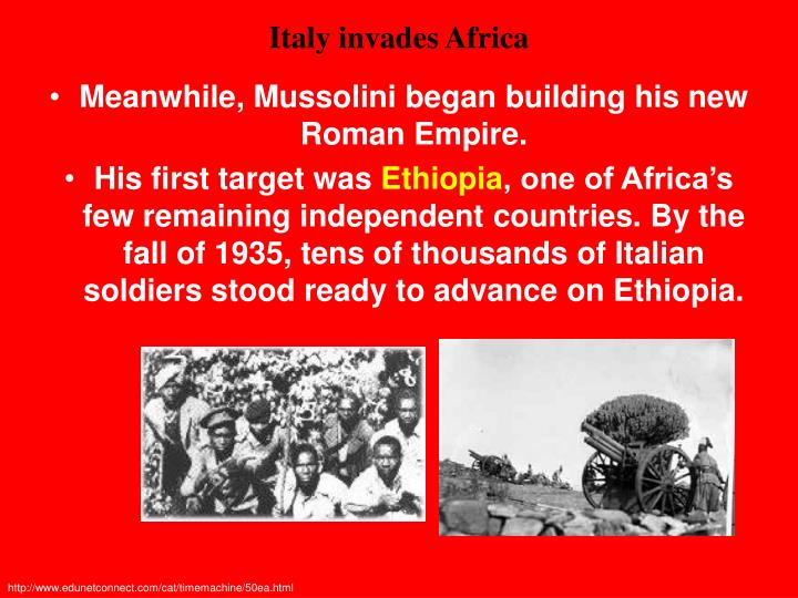 Italy invades Africa
