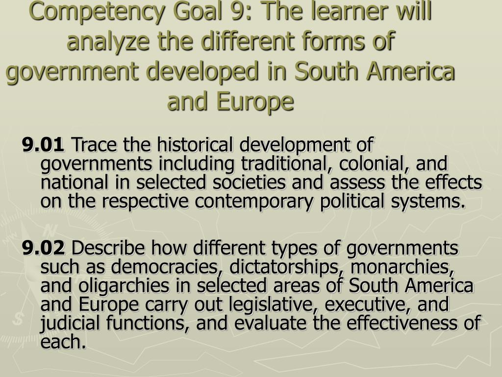 Competency Goal 9: The learner will analyze the different forms of government developed in South America and Europe
