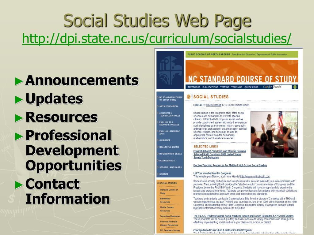 Social Studies Web Page