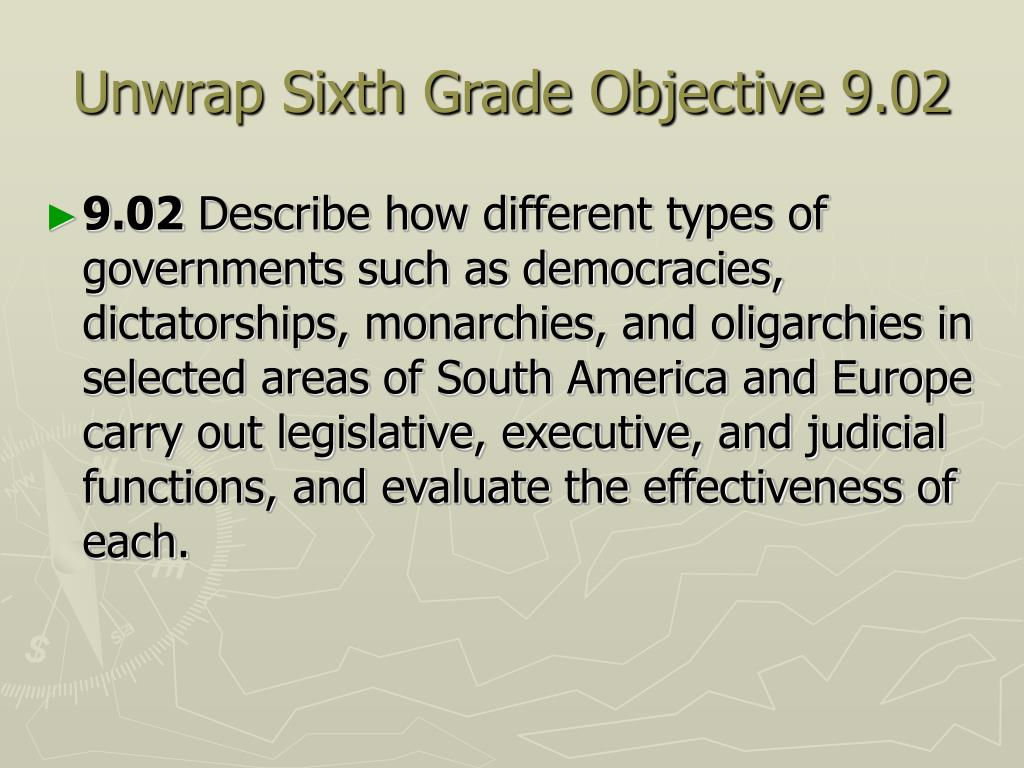 Unwrap Sixth Grade Objective 9.02