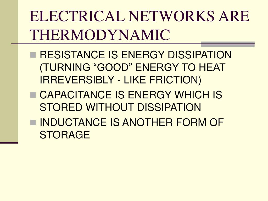 ELECTRICAL NETWORKS ARE THERMODYNAMIC
