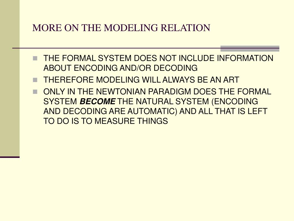MORE ON THE MODELING RELATION
