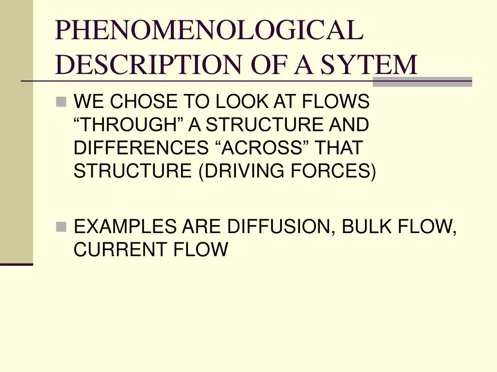 PHENOMENOLOGICAL DESCRIPTION OF A SYTEM