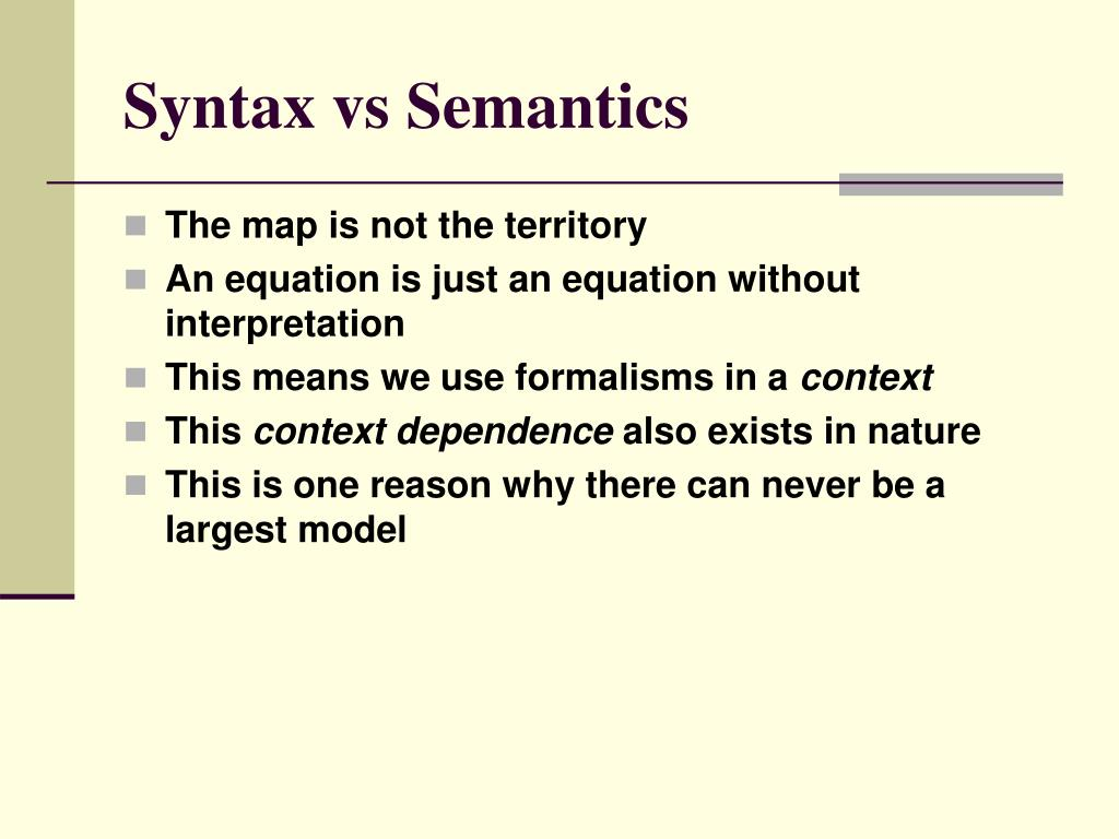 Syntax vs Semantics