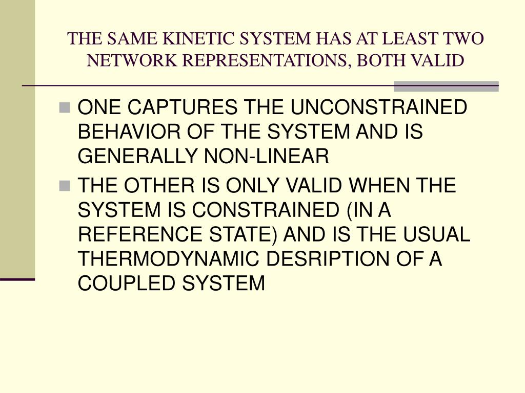 THE SAME KINETIC SYSTEM HAS AT LEAST TWO NETWORK REPRESENTATIONS, BOTH VALID