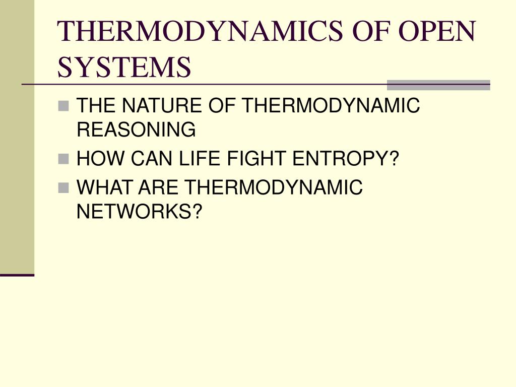 THERMODYNAMICS OF OPEN SYSTEMS